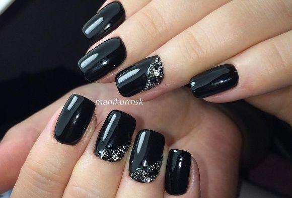 Ногти дизайн черный цвет