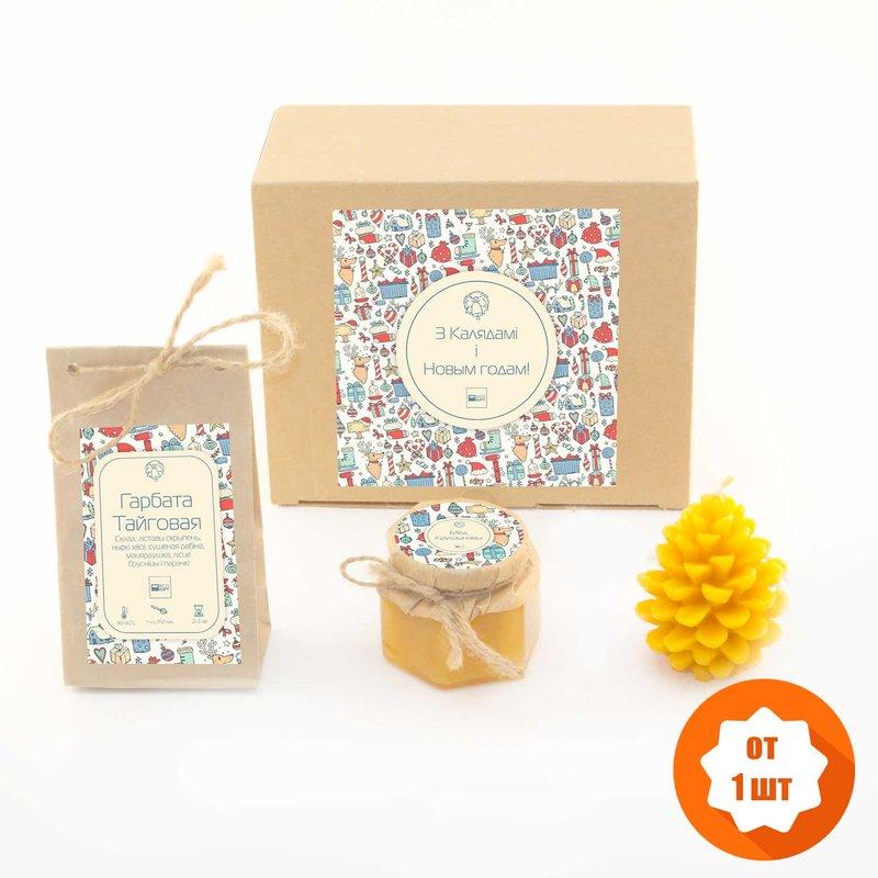Лучший подарок на Новый год 2017 из нашего ассортимента. Лимитированная серия подарочного чайного набора с мёдом и свечей из пчелиного воска.