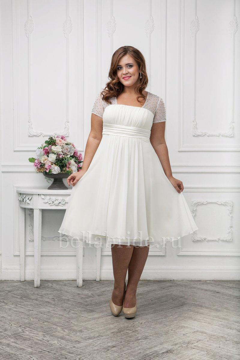 Свадебное короткое платье для полных фото