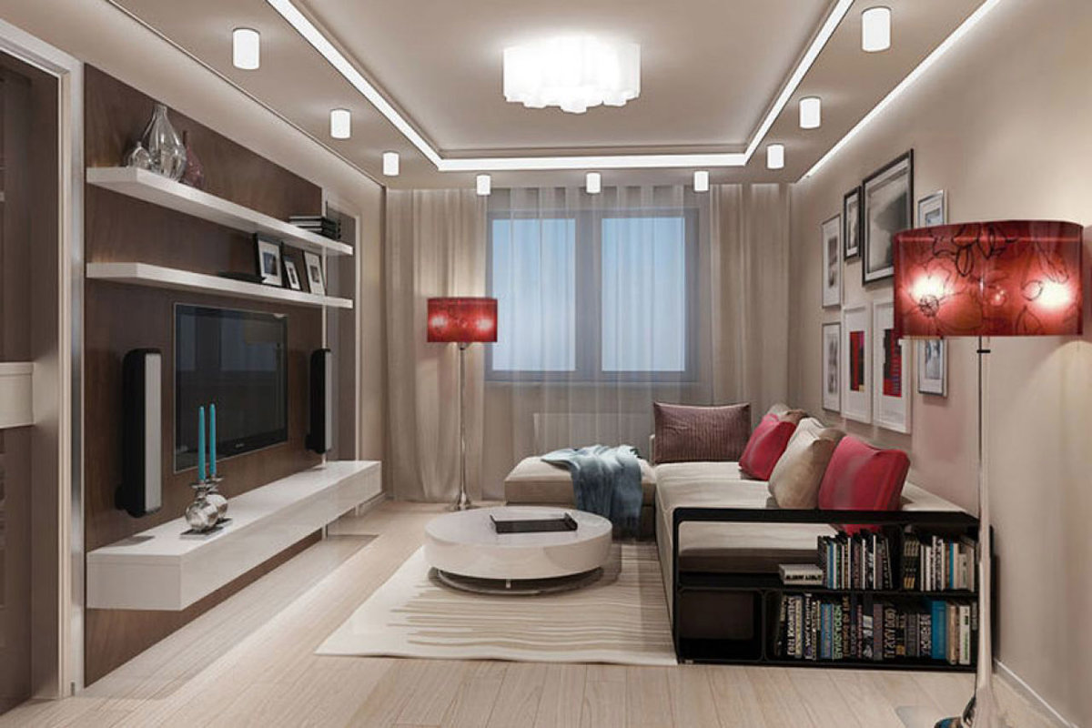 Дизайн и интерьер гостиной с современным торшером красного ц.