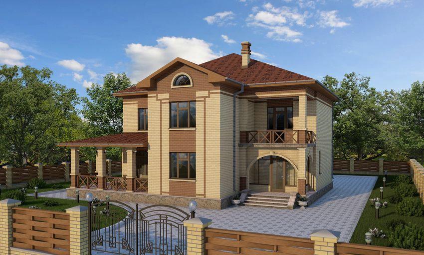 """Проект двухэтажного дома с террасой и балконом """" - карточка ."""