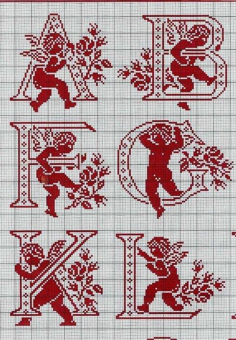 Схемы букв для вышивки крестом
