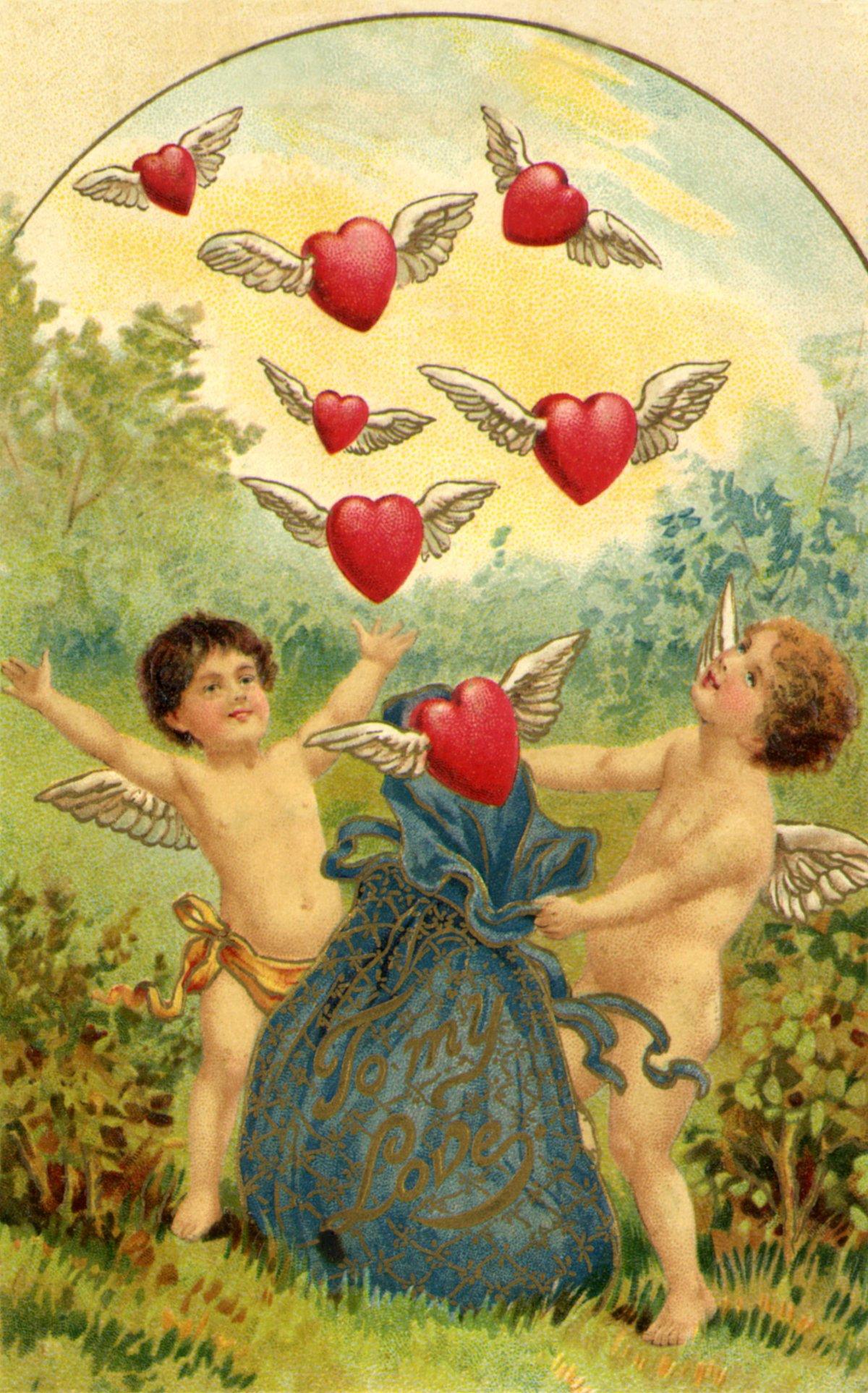 Сердечком картинки, амуры открытки