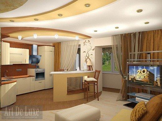 этом кухня совмещена с залом дизайн правильно нарисовать