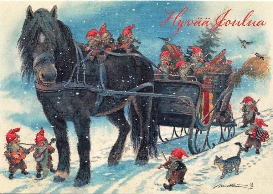 Прикольные картинки, финские открытки с новым годом