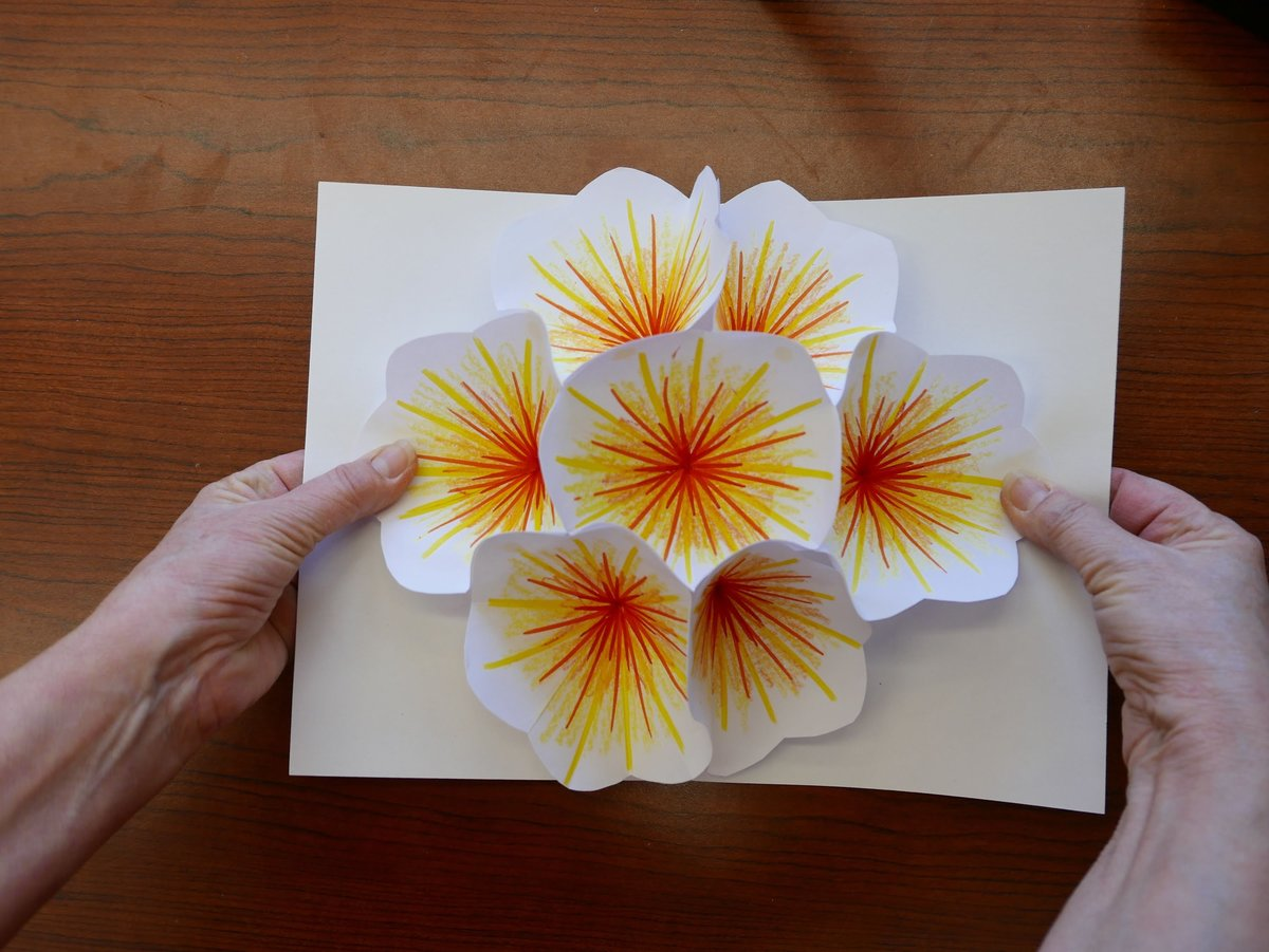 Открытка с открывающимся цветком мк