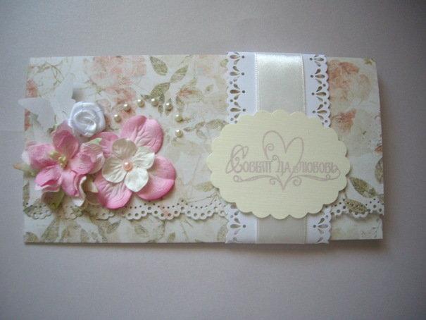 Музыкальные, свадебная открытка плюс конверт в едином стиле скрапбукинг