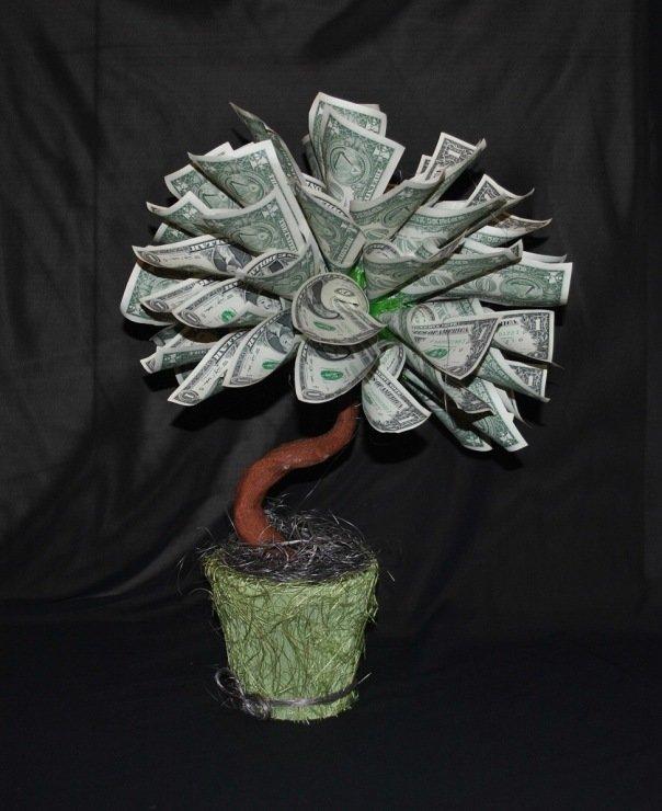 Денежное дерево из купюр своими руками в картинках