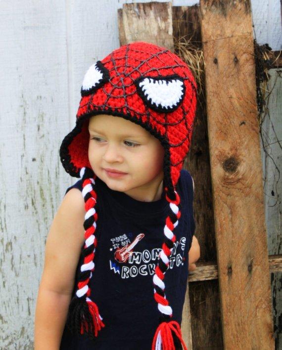 Вязание шапка человек паук