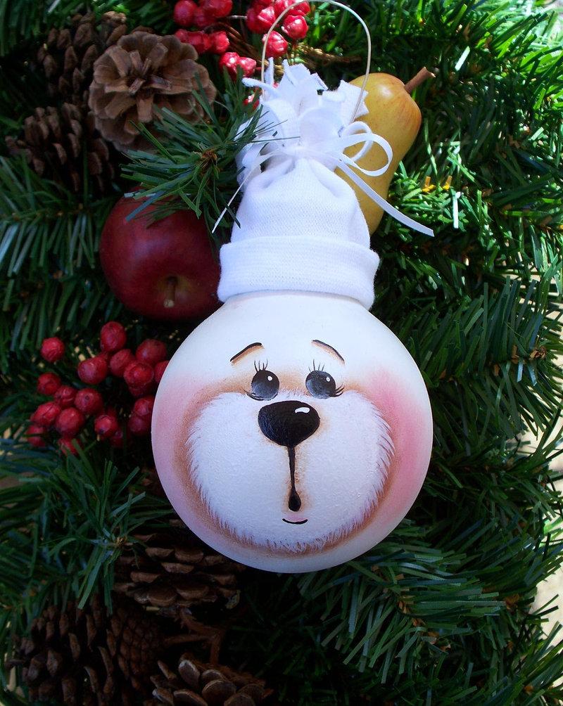 Новогодняя игрушка с лампочки своими руками фото