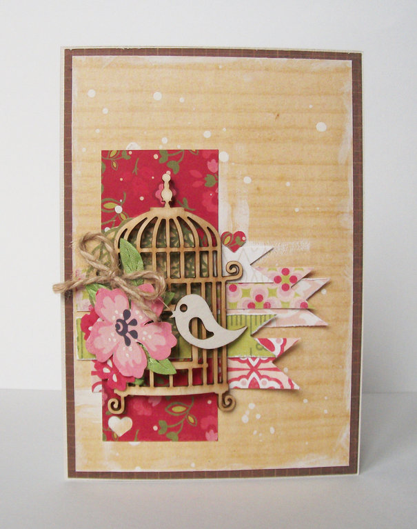 Скрапбукинг открытка с птичкой, дню октябрьской