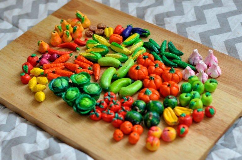 как сделать овощи и фрукты из соленого теста