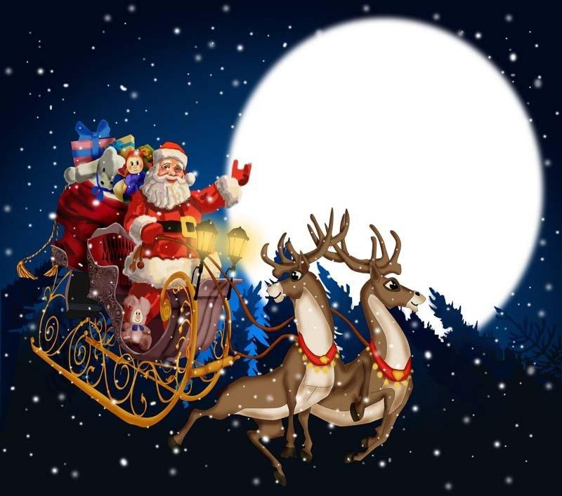 Язык картинки, новогодние открытки дед мороз на санях с оленями