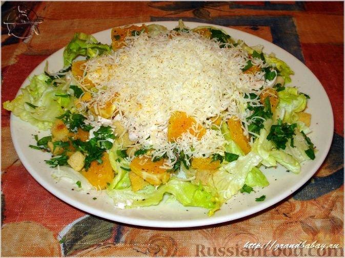 зеленый салат с курицей и апельсинами том, чего