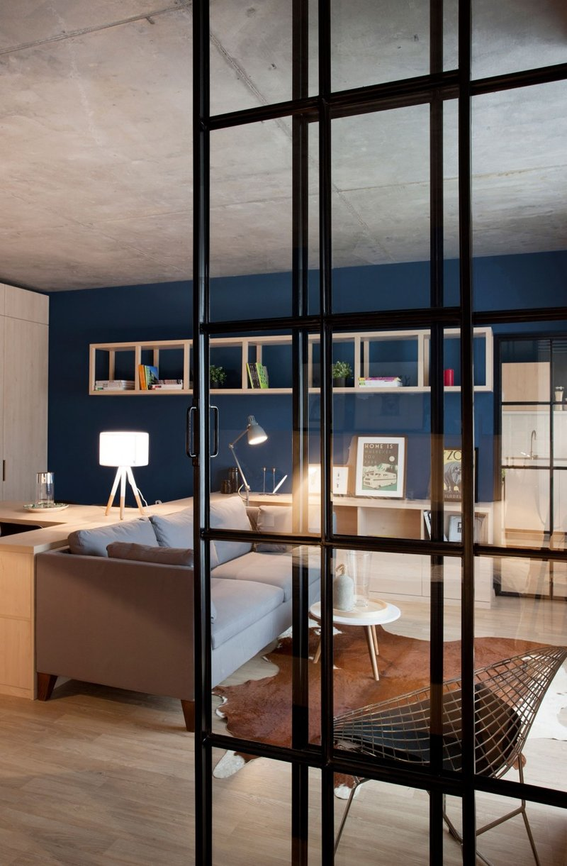 Close up of bedroom glass door - Bucharest cozy apartment
