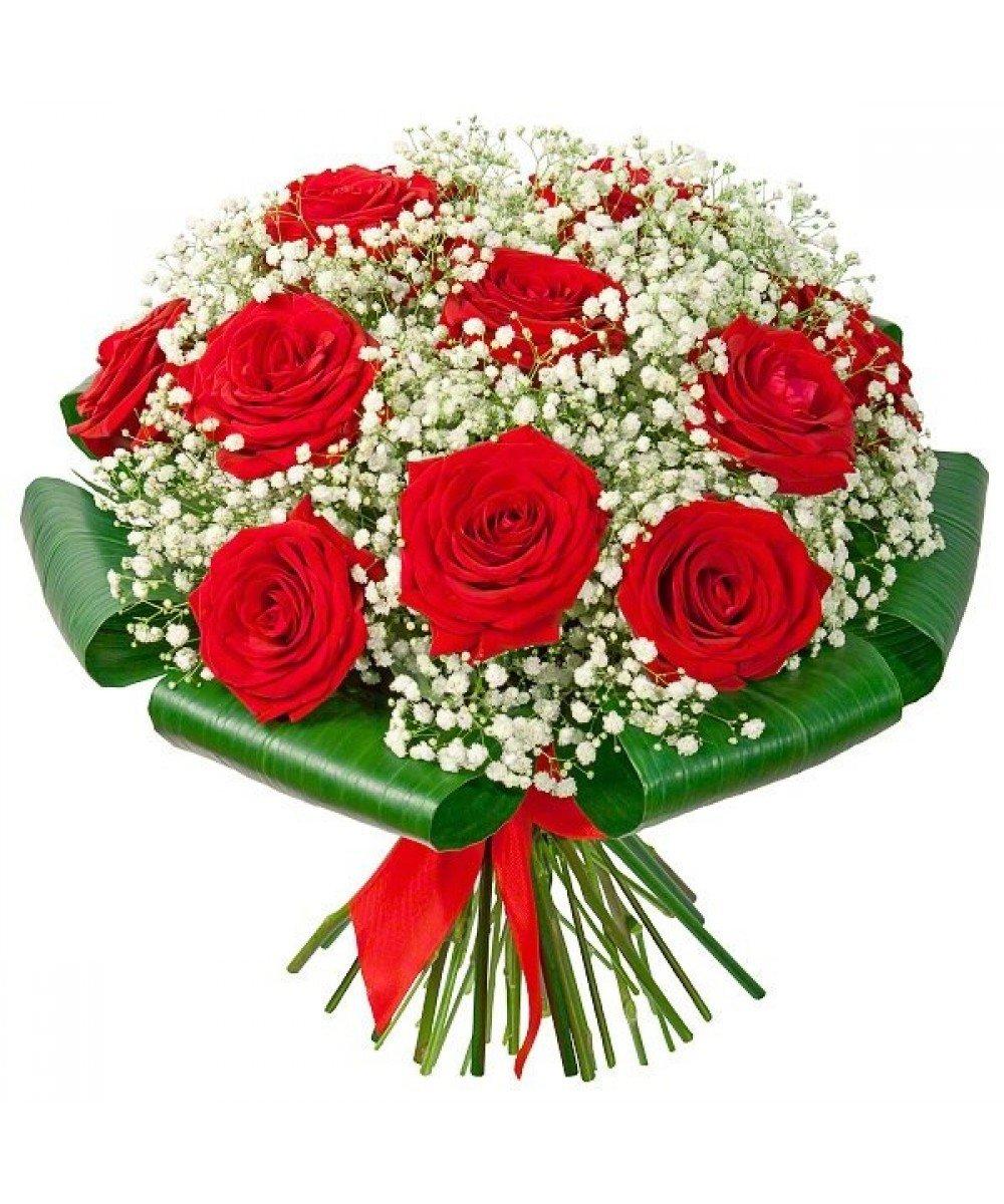Открытки цветы розы с гипсофилами