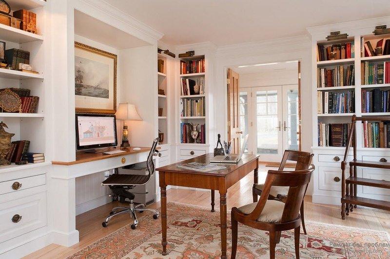 Гостеприимный домашний кабинет Приятный интерьер домашнего кабинета