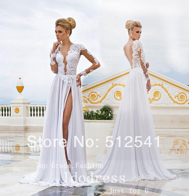 f12676efc1d ... Купить товар Длинные Рукава Белый Разрез Стороны Свадебные Платья  Оболочка V Шеи Аппликация Кружева Длинным Рукавом