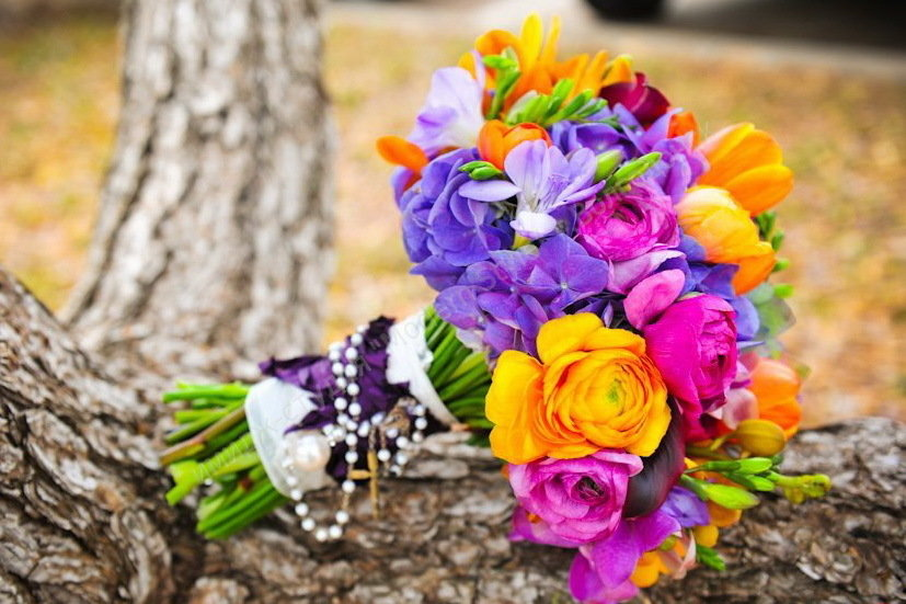 Необычный яркий букет невесты, санкт петербургу
