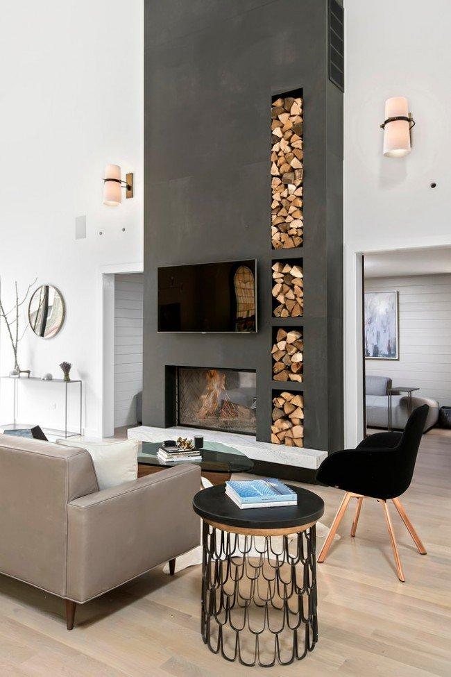 электрические камины в интерьере гостиной фото