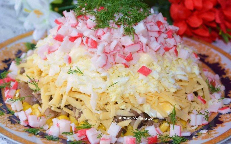 Рецепт салатов с крабовыми палочками с фото