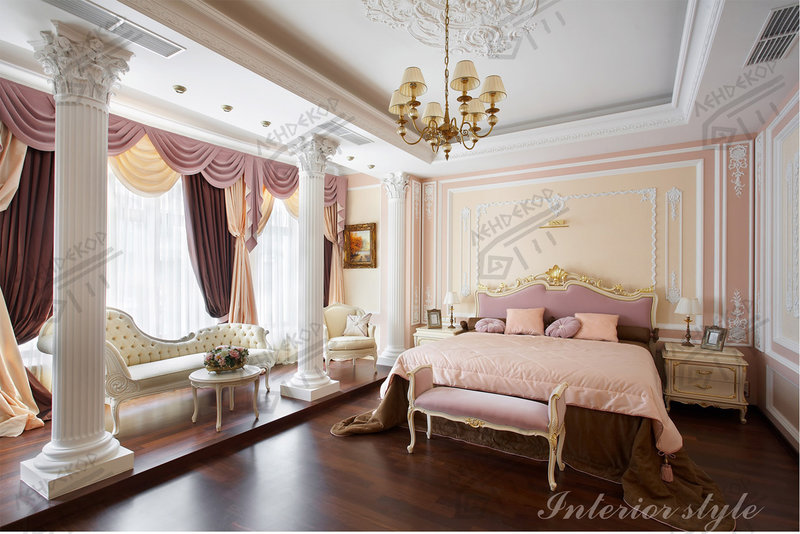 Дизайн спальни из лепнины