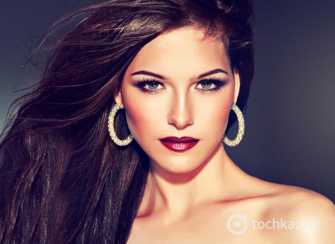 Идея макияжа с бордовыми губами