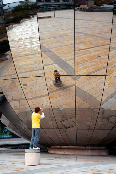 globe near the mirror