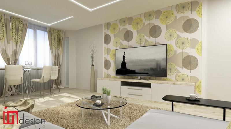 комбинированные обоев для зала дизайн фото