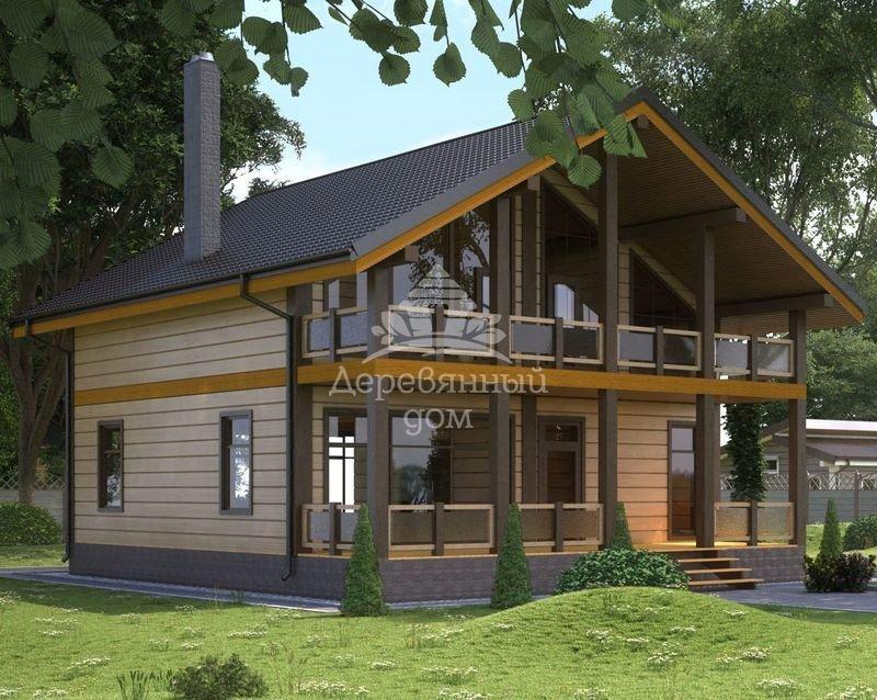 """Двухэтажный каркасный дом """"альба"""" с мансардой и верандой, те."""