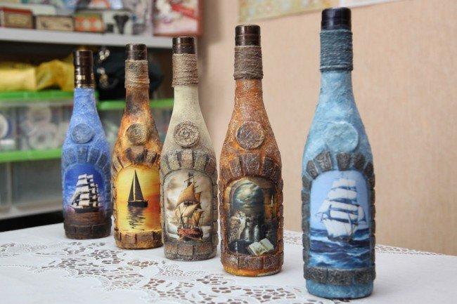 Морской декор бутылок своими руками