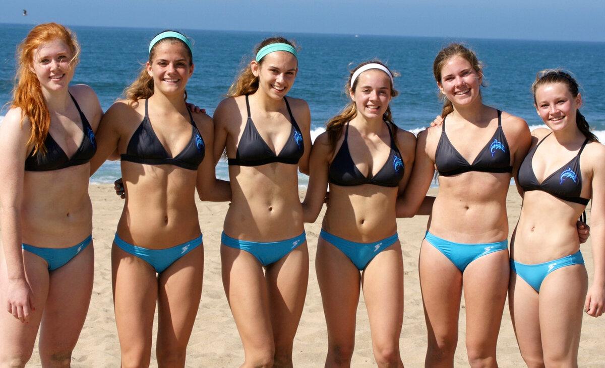 Teen bikini beach stock photo footage