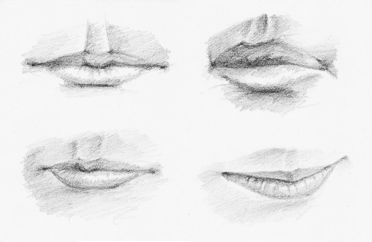 слишком картинки рта карандашом простий пейзаж