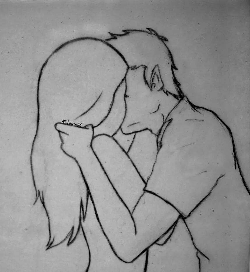 картинки для срисовывания карандашом поцелуй для