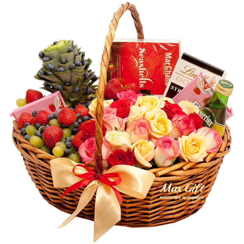 картинки корзина с фруктами и цветами для вас