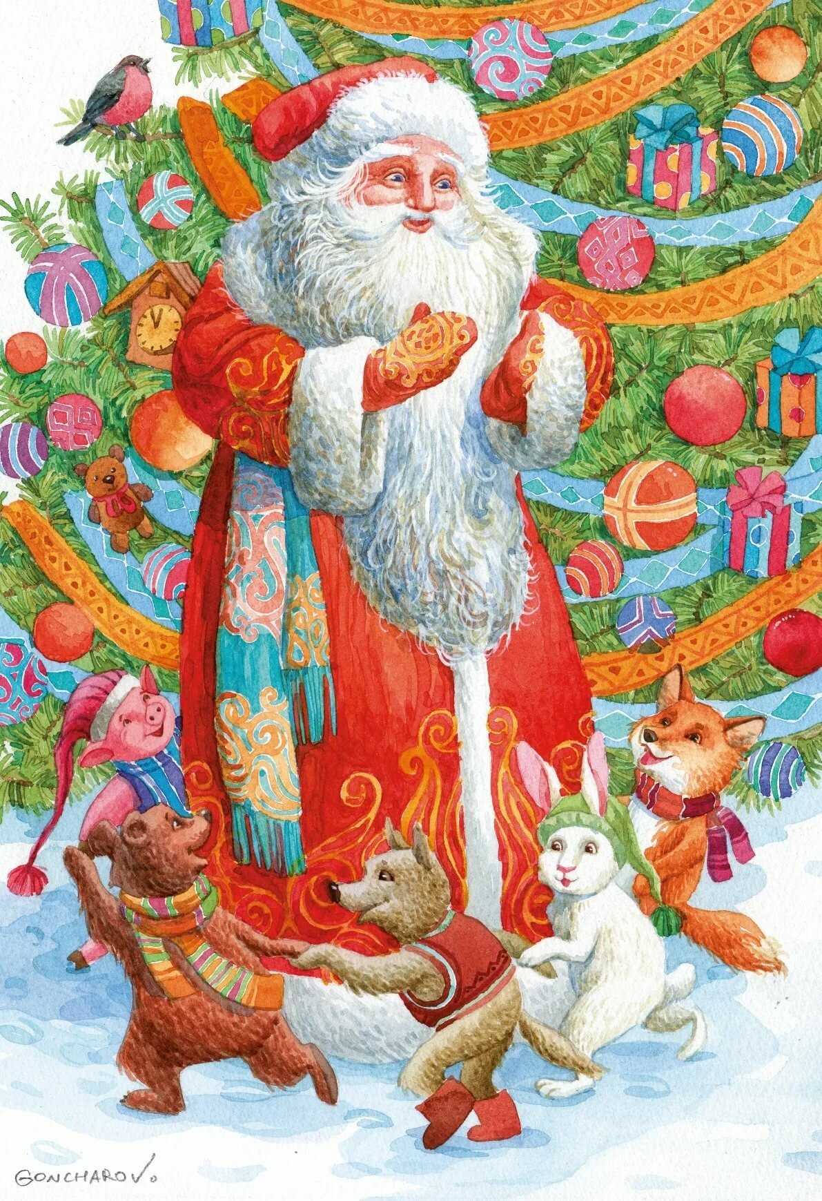 открытки с дедом морозом и звери