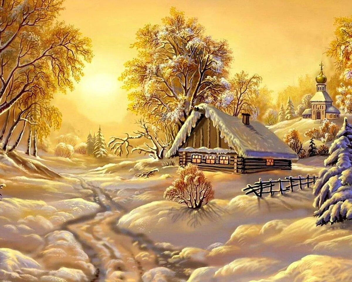 множества отломков анимационные картинки зима в деревне сам