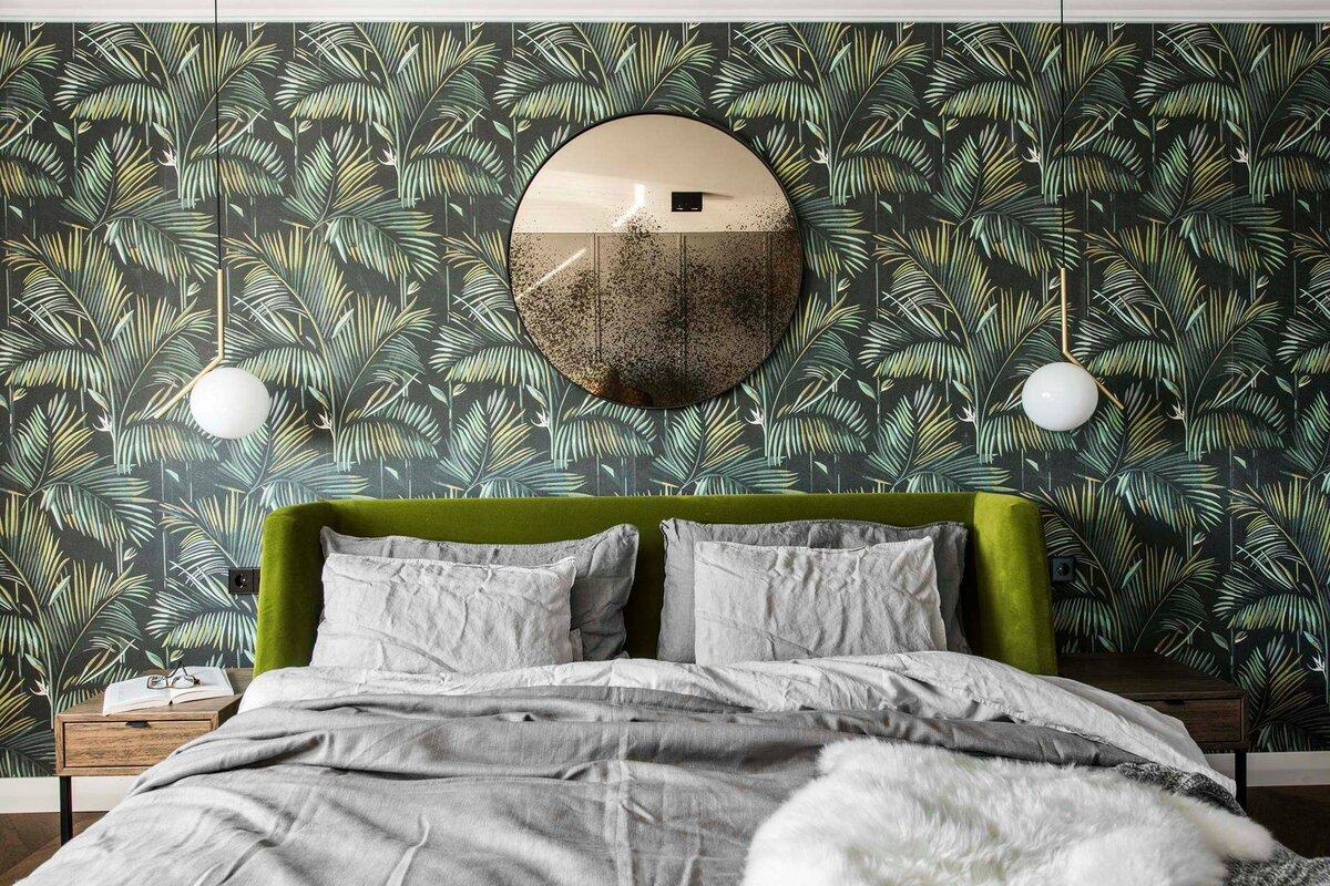 этого, обои с перьями в интерьере спальни будды