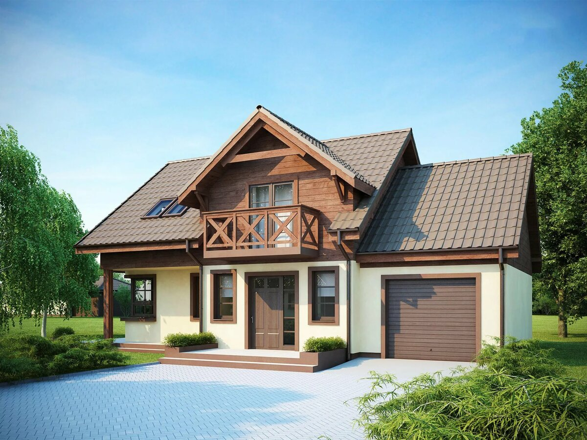 Каркасные дома с гаражом проекты и фотографии