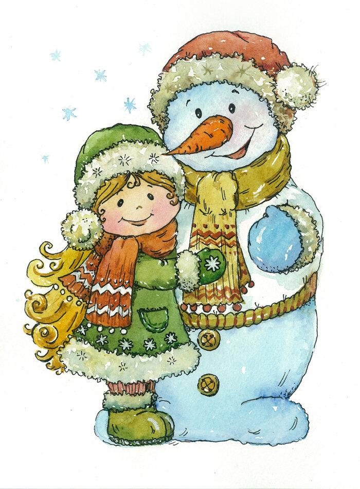 Открытка новогодняя снеговики