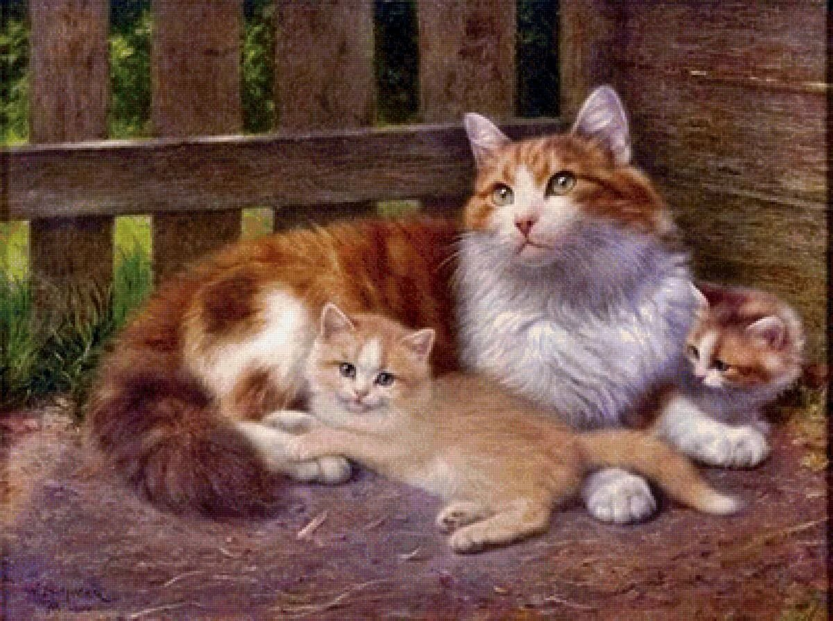 Картинка для детей кошка и котята