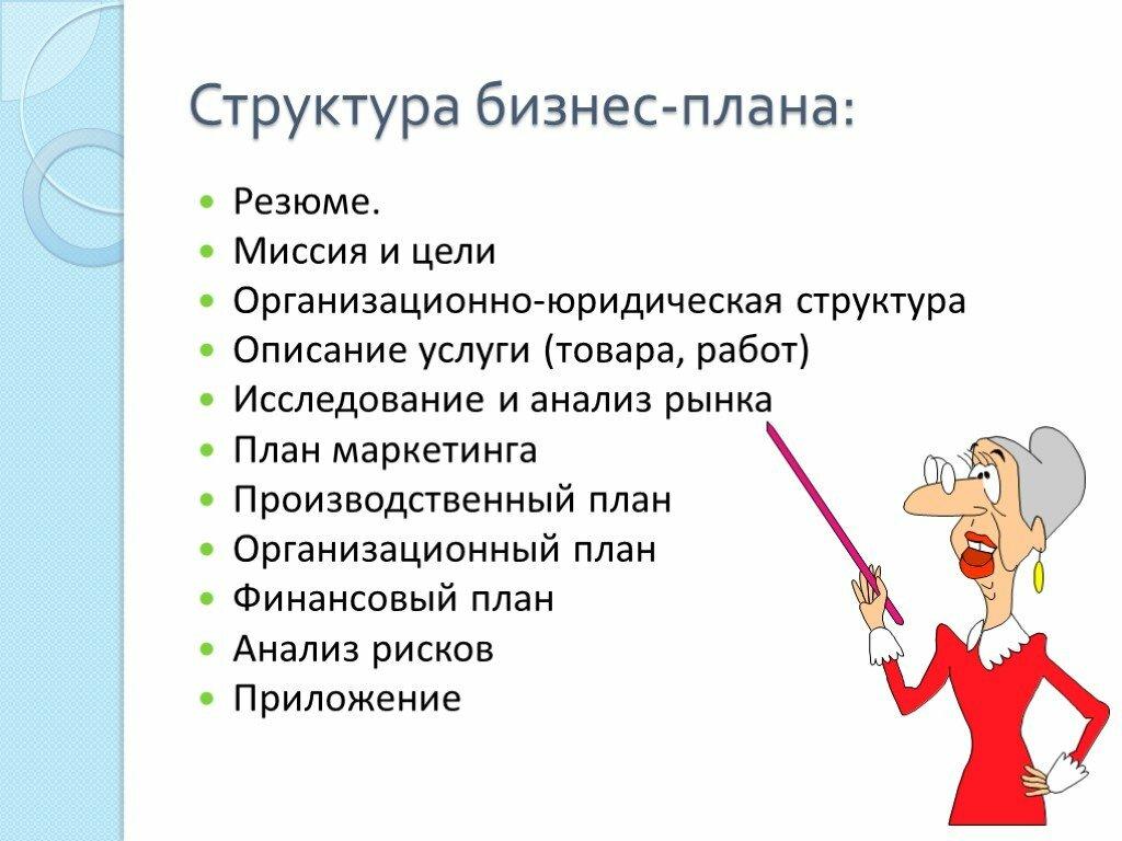 Образец бизнес плана с картинками