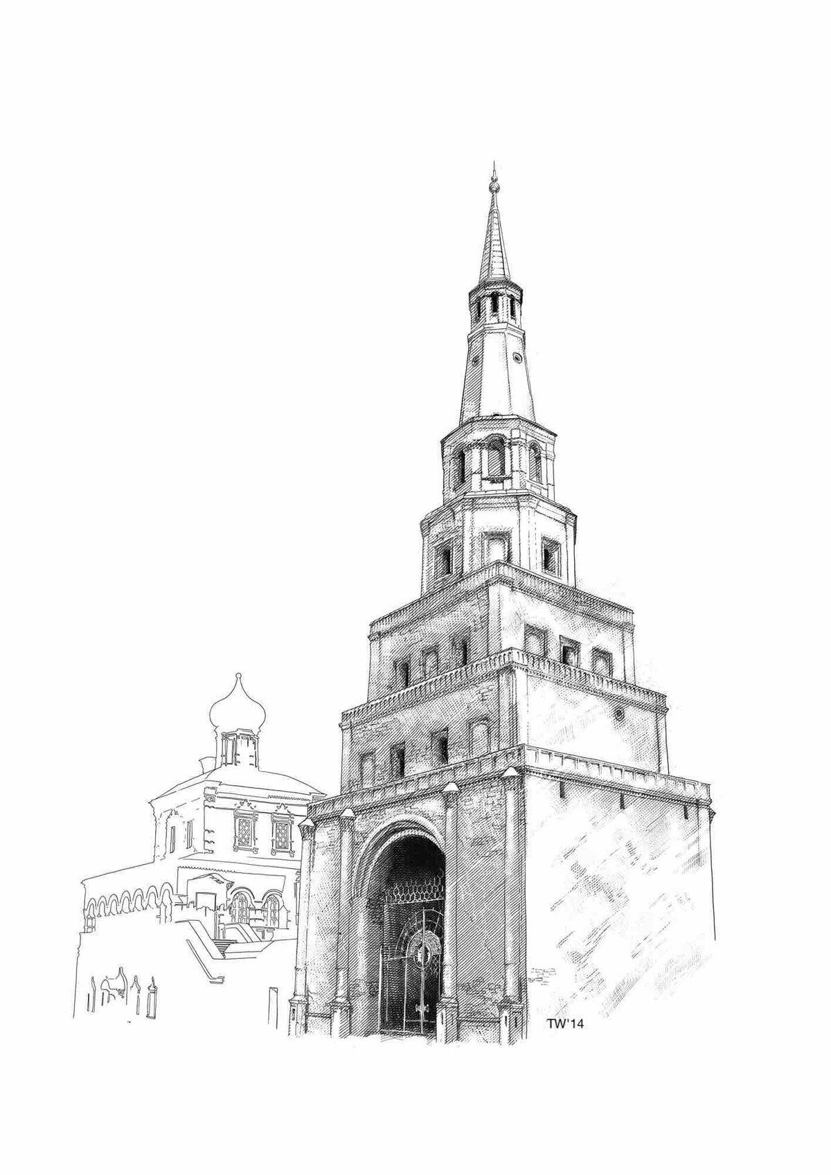 Казань картинки карандашом