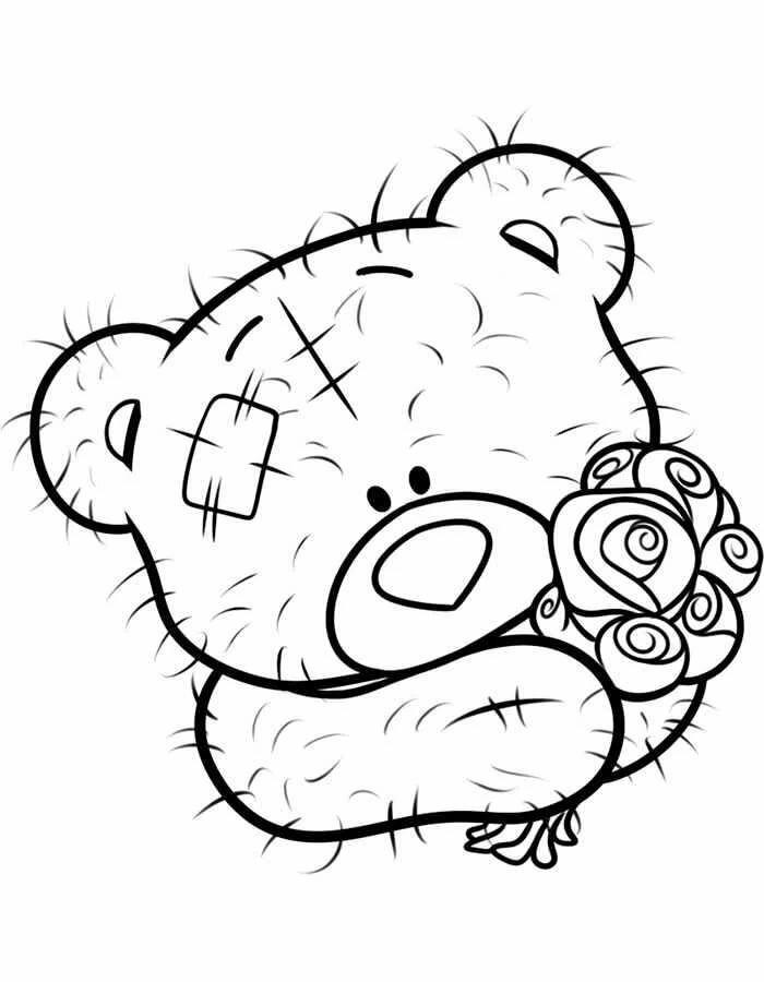 мишка с подарком картинка раскраска девушки должны