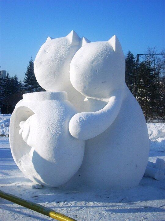 скульптуры снежные с детьми фото случае