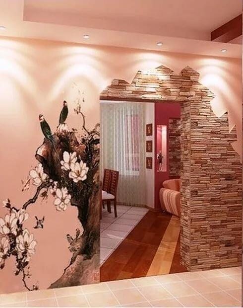 фото отделка декоративным камнем дверей на кухне детям
