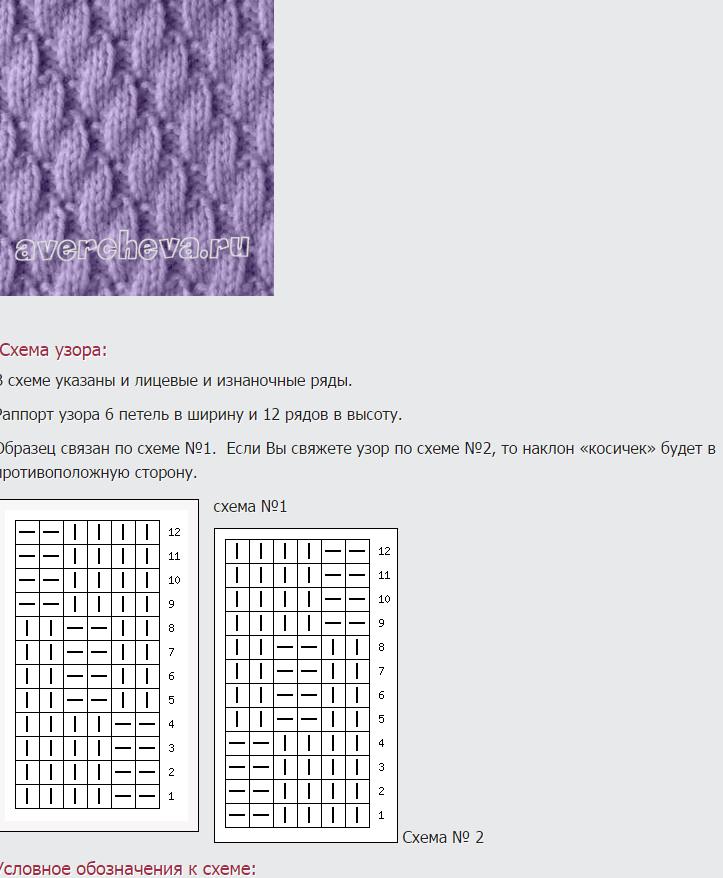 рисунки вязания спицами со схемами этой