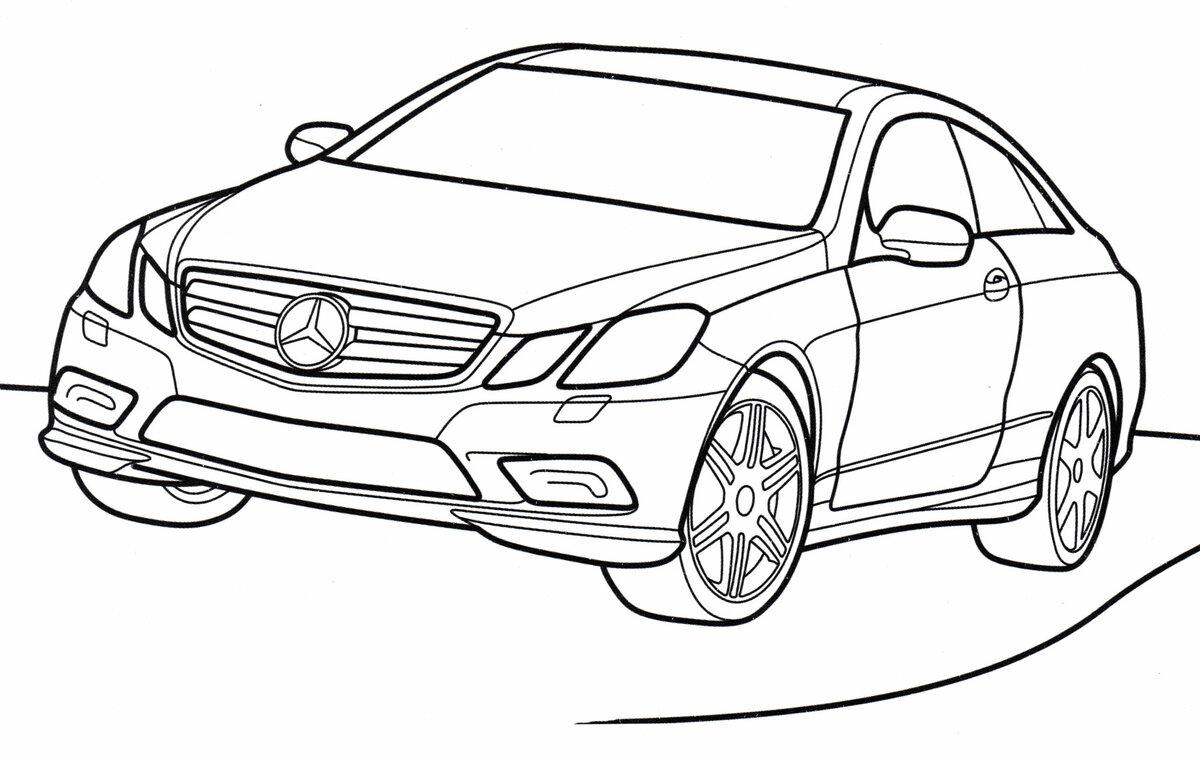 «Раскраска Mercedes E-class - распечатать бесплатно ...