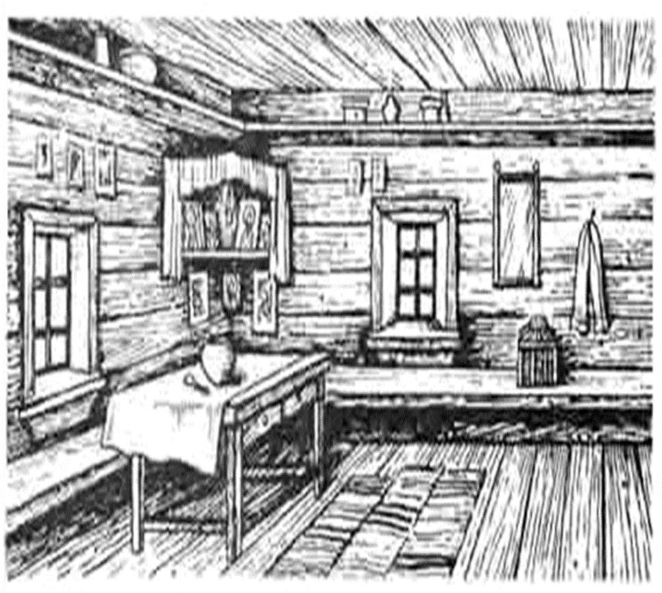 древнерусский дом внутри рисунок смены