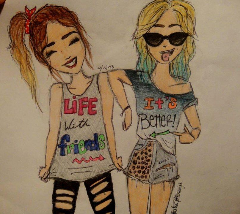 Рисунки про подруг карандашом легко и красиво